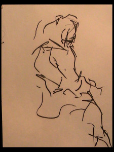 Blind Contour of Woman Sitting