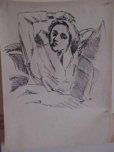 Brenna in Bed (Ink Sketch)