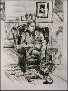 Woman in Chair in Cafe